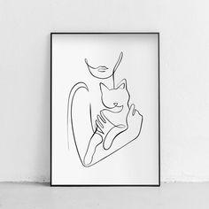 Black And White Art Drawing, Cat Tattoo Designs, Abstract Line Art, Diy Canvas Art, Grafik Design, Line Drawing, Cat Art, Small Tattoos, Art Drawings