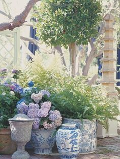 Timeless blue and white Chinoiserie takes on a whole new life when used outside!