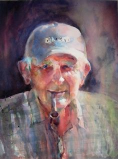 watercolor,genre (Contemporary Painting, Watercolor, Portrait)  Old man in ball cap smoking a pipe.  Art