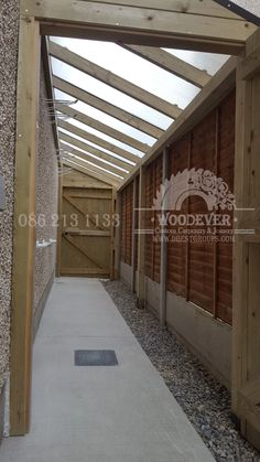 Side entrance passageway with roof, rain shelter, safe, secure bike or toy storage at side of house Bike Storage Home, Outdoor Bike Storage, Shed Storage, Storage Area, Garden Bike Storage, Firewood Storage, Secure Storage, Toy Storage, Lean To Roof