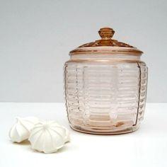 SALE  Pink Depression Glass Cookie Jar with Lid  by SplendidJunk, $48.00