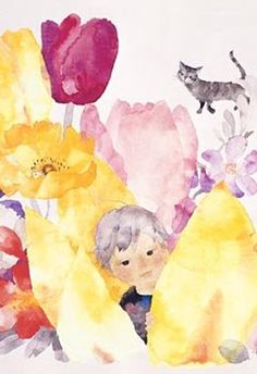いわさきちひろchihiro_iwasaki Watercolor Pattern, Watercolor Paintings, Watercolor Drawing, Painting & Drawing, Watercolors, Art Museum, Japanese Illustration, Children's Book Illustration, Japanese Watercolor