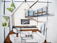 Marvelous Home Design Architectural Drawing Ideas. Spectacular Home Design Architectural Drawing Ideas. Croquis Architecture, Architecture Design, Interior Design Renderings, Plans Architecture, Drawing Interior, Interior Rendering, Interior Sketch, Architect Drawing, Architectural Section