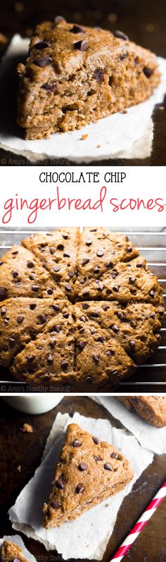 Healthy Chocolate Chip Gingerbread Scones -- say good-bye to dry, crumbly scones…