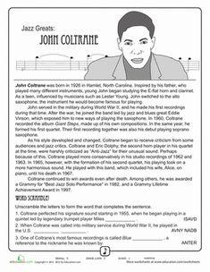 Black History Month Fourth Grade Music Comprehension Worksheets: Jazz Greats: John Coltrane