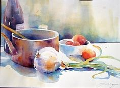 Still Life with Copper Pot by Yvonne Joyner Watercolor ~ 18 in. x 22 in.
