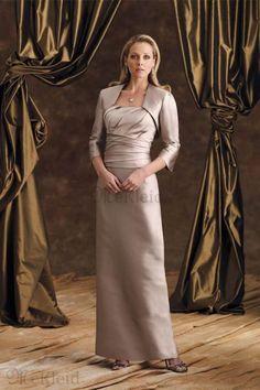 Gerüscht Knöchellang Empire Tailleline Satin Brautmutterkleid - Bild 1