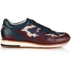 Lanvin Leopard-jacquard and leather trainers (1,915 SAR) ❤ liked on Polyvore featuring shoes, sneakers, navy multi, leopard print sneakers, genuine leather shoes, navy shoes, leather sole shoes i navy blue sneakers