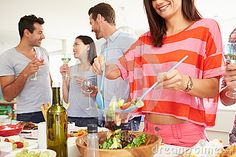 Group Of Friends Having Dinner Party At Home Stock Photos - Image: 35610783