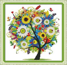 Benway Counted Cross Stitch Colorful Lucky Tree Flowers Tree 14 Count 38x38cm Benway http://smile.amazon.com/dp/B00LZV6XOU/ref=cm_sw_r_pi_dp_i2M6vb00K93RP