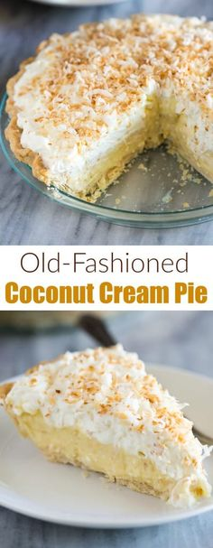 Easy Old Fashioned Coconut Cream Pie is homemade with a creamy coconut pudding filling and tasty whipped cream topping. This is always a crowd favorite. via # coconut Desserts Coconut Cream Pie Easy Pie Recipes, Cream Pie Recipes, Köstliche Desserts, Delicious Desserts, Dessert Recipes, Lemon Desserts, Healthy Desserts, Tiramisu Dessert, Pie Dessert