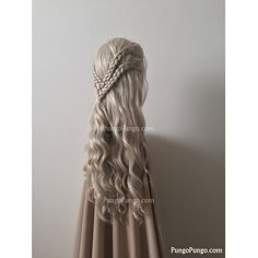Ash Blonde Wig Braids Long Wavy Curls Lace Front Wig Daenerys... ($165) ❤ liked on Polyvore featuring beauty products, haircare, hair styling tools, bath & beauty, grey, hair care and wigs