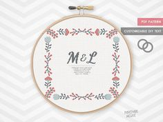 FOLK WEDDING ANNOUNCMENT counted cross stitch by PineconeMcGee