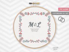 FOLK WEDDING ANNOUNCMENT counted cross stitch pattern, modern shower bride gift, diy bridal house warming, easy customize customise epattern