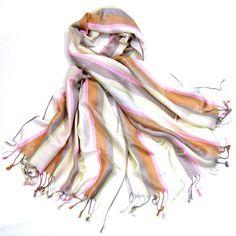 Etole pashmina rayures et motifs écru - Etole pashmina - Mes Echarpes