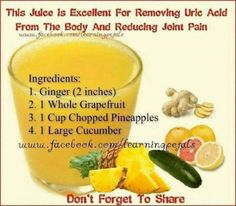 joint pain remedies Removing uric acid and reducing joint pain. - Causes for gout in foot foot pain and gout,gout flare gout in big toe,gout inflammation treatment gout of big toe. Healthy Juice Recipes, Healthy Detox, Healthy Juices, Healthy Smoothies, Healthy Drinks, Healthy Fit, Keeping Healthy, Health Recipes, Gout Diet