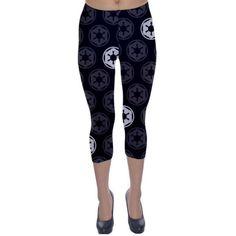 Star Wars Empire Inspired Capri Leggings ($35) ❤ liked on Polyvore featuring pants, leggings, silver, women's clothing, legging pants, blue trousers, blue pants, blue leggings and blue capri leggings