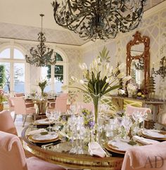 Dining Room by Mario Buatta and Jeffery W. Smith in Biscayne Bay, Florida