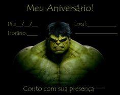 convite para imprimir hulk Hulk Birthday Parties, Birthday Ideas, Superhero, Image, Junho, Scrap, Printables, Incredible Hulk Party, Hulk Party