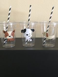 Puppy Birthday party cups by DivineGlitters on Etsy