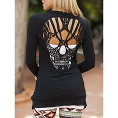 Stylish Collarless Long Sleeve Skull Pattern Hollow Out Women's Cardigan
