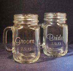 Bride and groom mason jar glasses | Personalized Bride and Groom Glass Mason Jar Mugs | eBay