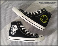 955e27a5bf5f Kurt Cobain  NIRVANA  Custom Converse   Painted by FeslegenDesign Converse  Shoes