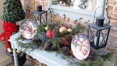 Dreaming of a White Christmas {Porch} - Our Southern Home. Get rid of the plates & one lantern, for a simple elegant look. Country Christmas Decorations, Christmas Porch, Merry Christmas To All, White Christmas, Christmas Holidays, Holiday Wreaths, Holiday Ideas, Christmas Projects, Christmas Ideas