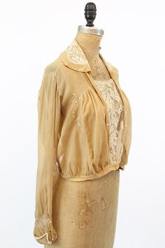 48611bfe03f1 20s Blouse Silk Small / 1920s Vintage Caramel Lace Top / Charlotte Rose  Blouse