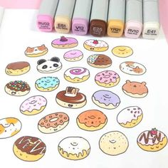 17 Donut bullet journal layout and spread ideas bullet Donut Ideas journal kawaii layout spread Copic Drawings, Doodle Drawings, Easy Drawings, Doodle Art, Cartoon Drawings, Bullet Journal Ideas Pages, Bullet Journal Layout, Bullet Journal Inspiration, Journal Format