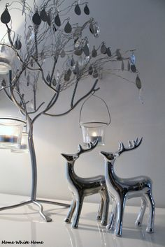 Silver reindeer - Home White Home Silver Christmas Decorations, Christmas Colors, Christmas Home, White Christmas, Xmas, Holiday Decor, Christmas Ideas, Christmas Collage, Winter Wonder
