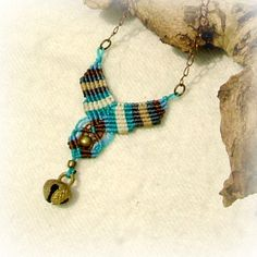 Blue moon micro macrame necklace with a by MammaEarthCreations, $39.00