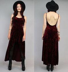 Maroon Crushed Velvet Vamp Backless Grunge Fishtail Maxi Mini Dress S-M on Wanelo Witch Fashion, Dark Fashion, Grunge Fashion, Gothic Fashion, 90s Fashion, Fashion Outfits, Steampunk Fashion, Indie Outfits, Edgy Outfits
