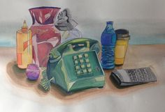 Daily objects. Everyday objects. Essentials. Telephone, water, etc art. Water color. Pen. By Gloria E