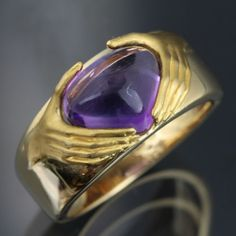 Carrera-y-Carrera-K18-Yellow-Gold-Hand-Motif-With-Amethyst-Ring-Size-6-25-19830