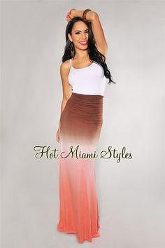Brown Rust Orange Tye-Dye Ombre High-Waist Maxi Skirt $39.99