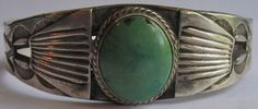 VINTAGE NAVAJO INDIAN SILVER SEA GREEN TURQUOISE MEN'S WRIST SIZE CUFF BRACELET