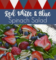 This delicious and easy to make strawberry, blueberry, and spinach salad is perfect for your 4th of July party. The red, white, and blue colors are a fun addition to any picnic table. A healthy and delicious side dish.