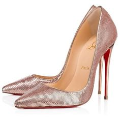 Christian Louboutin New Rose Gold Pink Sequin So Kate High Heels Pumps... (€1.167) ❤ liked on Polyvore featuring shoes, pumps, rose gold shoes, pink high heel shoes, slip-on shoes, slip on shoes and pink sequin pumps