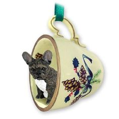 French Bulldog Tea Cup Green Decorative Holiday Ornament