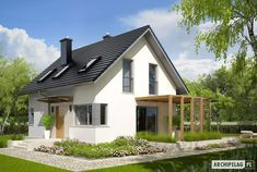 Projekt domu AC Lea (wersja B) CE - DOM - gotowy koszt budowy Small House Exteriors, Farmhouse Lighting, House Music, Traditional House, Ground Floor, Home Projects, Planer, House Plans, Sweet Home