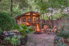 Absolutely Perfect Suburban Backyard - Enveloping Foliage, Fire Pit, & Cozy, Screened Pavilion. [[MORE]]SOURCE: 'Screened Pavilion Retreat' - Greenheart Garden Designs The screened pavilion, at the...