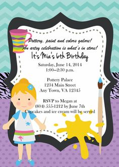 Girls Pottery Painting Birthday Party Invitation by LBKInvites