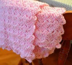 slanted shell stitch baby blanket (free pattern) From The Hive: car trip = project done