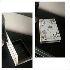 Kitap şeklinde ahşap boyama kutu üzeri deniz temalı rubon desenli çok amaçlı kutu #ahşap boyama #kutu #yelkenli #dümen #çapa #denizatı #harita #siyah #beyaz