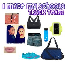 """OMG I'M ON MY SCHOOL'S TRACK TEAM LOL"" by mari-luvs-blue ❤ liked on Polyvore featuring NIKE, Saucony and Forever 21"
