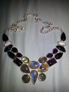 STUNNING GLOWING LABRADORITE AMETHYST PEARL GEMSTONE NECKLACE STERLING SILVER PLATED~FREE SHIPPING!