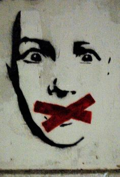 This interpretation in this political graffiti is that we have no voice. The expression also shows that when we are scared we can't say anything and have nothing to say.