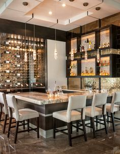 Modern Magnetism - Contemporary - Home Bar - Miami - by P&H Interiors Home Bar Rooms, Home Bar Areas, Home Bar Decor, Modern Home Bar Designs, Home Wine Cellars, Luxury Bar, Contemporary Bar, Bar Lounge, Bars For Home