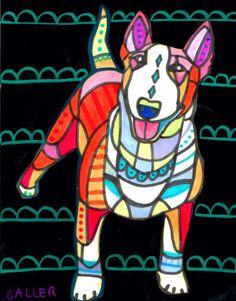 Dog Print  Bull Terrier Art Dog Print Poster by HeatherGallerArt, $24.00